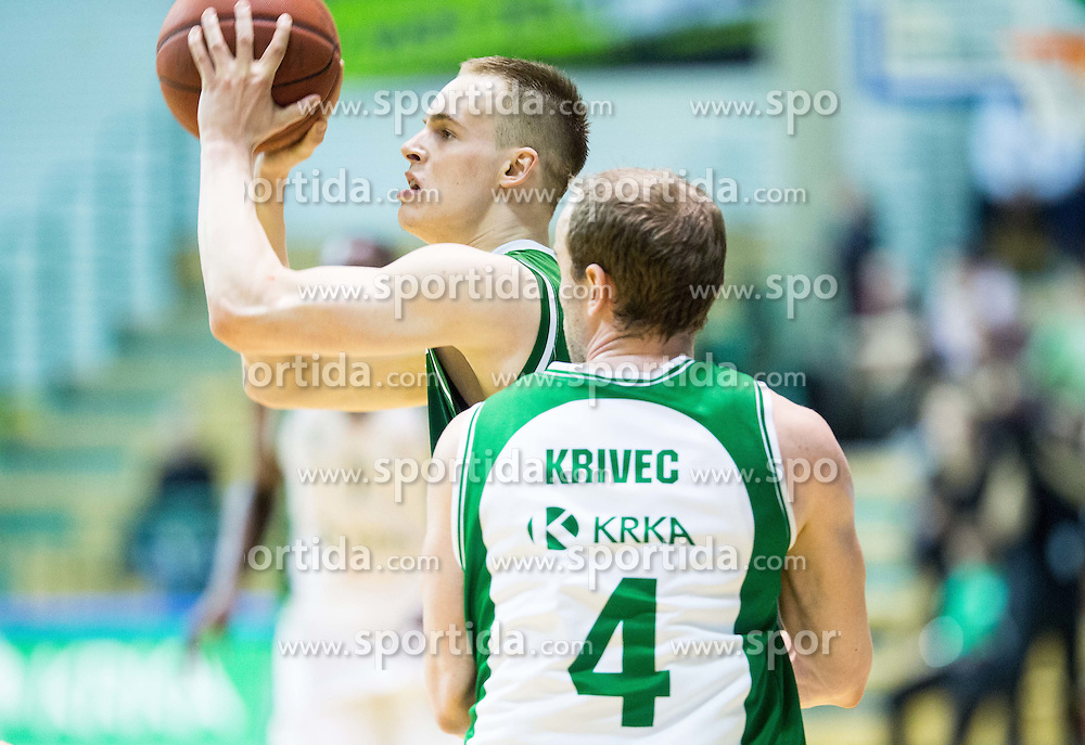 Klemen Prepelic #24 of KK Union Olimpija during basketball match between KK Krka and KK Union Olimpija in Round #7 of Telemach League for Slovenian National Champion 2014/15 on April 18, 2015 in Dvorana Leona Stuklja, Novo mesto, Slovenia. Photo by Vid Ponikvar / Sportida