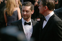 Tobey Maguire. and Leonardo Dicaprio. attending the gala screening of The Great Gatsby at the Cannes Film Festival on 15th May 2013, Cannes, France.