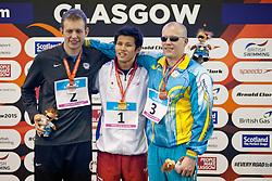 DRAKE Tharon, KIMURA Keiichi, MASHCHENKO Oleksandre USA, JPN, UKR at 2015 IPC Swimming World Championships -  Men's 100m Breaststroke SB11