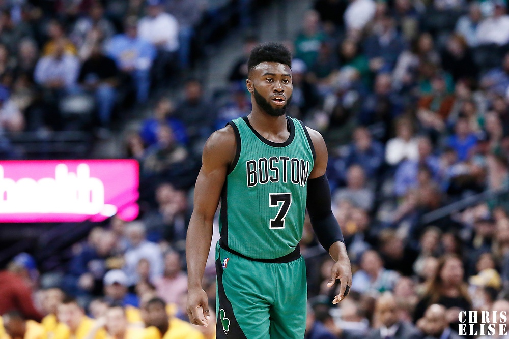 10 March 2017: Boston Celtics forward Jaylen Brown (7) is seen during the Denver Nuggets 119-99 victory over the Boston Celtics, at the Pepsi Center, Denver, Colorado, USA.
