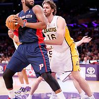 17 November 2013: Detroit Pistons power forward Greg Monroe (10) posts up Los Angeles Lakers center Pau Gasol (16) during the Los Angeles Lakers 114-99 victory over the Detroit Pistons at the Staples Center, Los Angeles, California, USA.