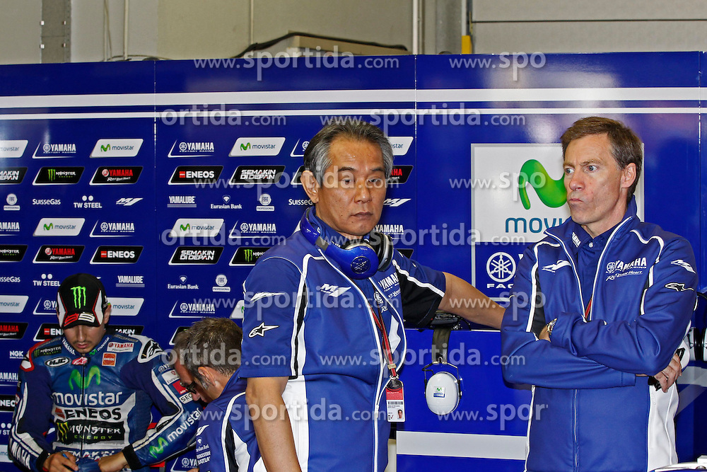 23.09.2012, TT Circuit, Assen, NED, MotoGP, Assen, im Bild Jorge Lorenzo,Masahiko Nakjima, Lin Jarvis // during the MotoGP Iveco TT Assen at the TT Circuit in Assen, Netherlands on 2012/09/23. EXPA Pictures &copy; 2014, PhotoCredit: EXPA/ Eibner-Pressefoto/ FOTO-SPO_AG<br /> <br /> *****ATTENTION - OUT of GER*****