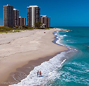 The deserted beach in Singer Island, FL during the COVID 19 lockdown, when beaches in the state were closed to the public to minimize the spread of the Corona Virus.