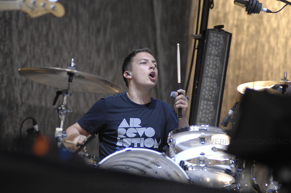 BALADO, KINROSS, SCOTLAND - JULY 6th 2007: The Arctic Monkeys perform live at T in the Park 2007. Pictured drummer Matt Helders.