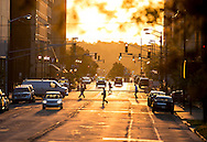 9/20/2016: Workers walk to their offices on Friday morning, as seen looking east on Jefferson Boulevard in downtown South Bend.<br /> <br /> Workers walk to their offices on Friday morning looking east on Jefferson Blvd. in downtown South Bend.  Tribune Photo/SANTIAGO FLORES