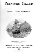 Robert Louis Stevenson (1850-94) 'Treasure Island' adventure novel for children first serialised as 'The Sea Cook: or, Treasure Island' in 'Young Folks' 1881-82 and in book form 1883. Title page of 1886 illustrated edition.