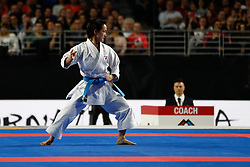 November 10, 2018 - Madrid, Madrid, Spain - Kiyou Shimizu of Japan figth for the gold medal and win the tournament of Female Kata tournament during the Finals of Karate World Championship celebrates in Wizink Center, Madrid, Spain, on November 10th, 2018. (Credit Image: © AFP7 via ZUMA Wire)