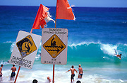 Dangerous surf signs, Oahu, Hawaii<br />