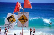 Dangerous surf signs, Oahu, Hawaii<br />