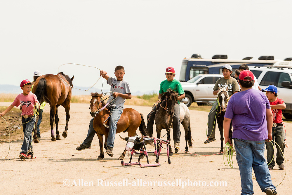 Indian kids-roping dummy-Rocky Boy Rodeo-Rocky Boy Indian Reservation-Montana-Indian Cowboys