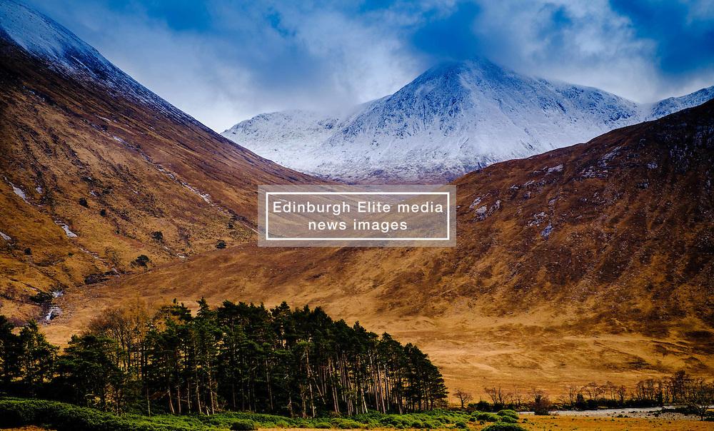 Snow capped mountain in Glen Etive, Highlands of Scotland<br /> <br /> (c) Andrew Wilson   Edinburgh Elite media