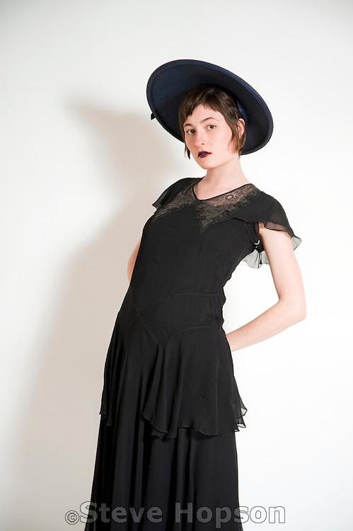 Nicole Herr, modeling fashions from Amelia's Retro Vogue, Austin, Texas, January 10, 2011.