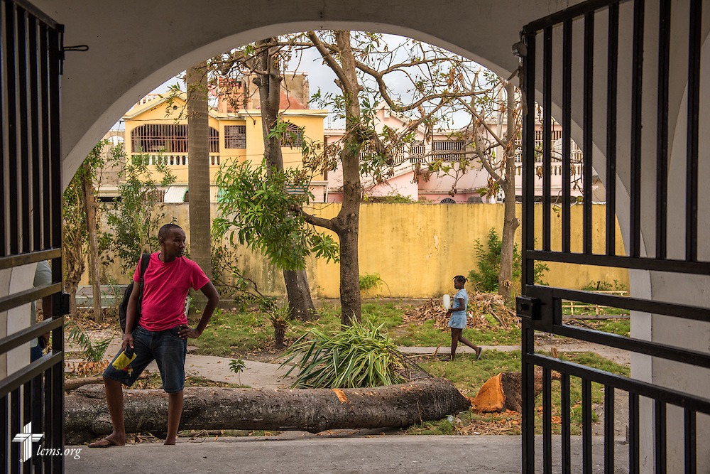 Fallen debris from Hurricane Matthew litters the entrance to First Lutheran Church of Les Cayes on Tuesday, Oct. 11, 2016, in Haiti.  LCMS Communications/Erik M. Lunsford