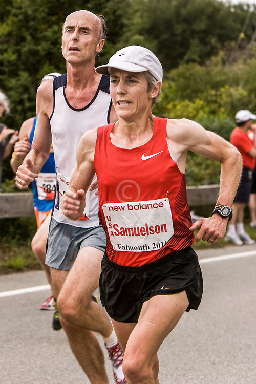 Joan Benoit Samuelson at mile three