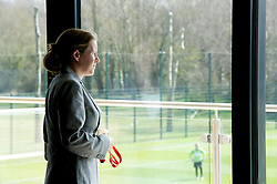 NEWPORT, WALES - Saturday, April 20, 2013: Wales performance analyst Esther Laugharne at the opening of the FAW National Development Centre in Newport. (Pic by David Rawcliffe/Propaganda)