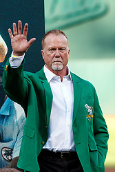 OAKLAND, CA - SEPTEMBER 21:  Former first baseman Mark McGwire of the Oakland Athletics stands on the field during the team's Hall of Fame ceremony before the game against the Texas Rangers at the RingCentral Coliseum on September 21, 2019 in Oakland, California. The Oakland Athletics defeated the Texas Rangers 12-3. (Photo by Jason O. Watson/Getty Images) *** Local Caption *** Mark McGwire