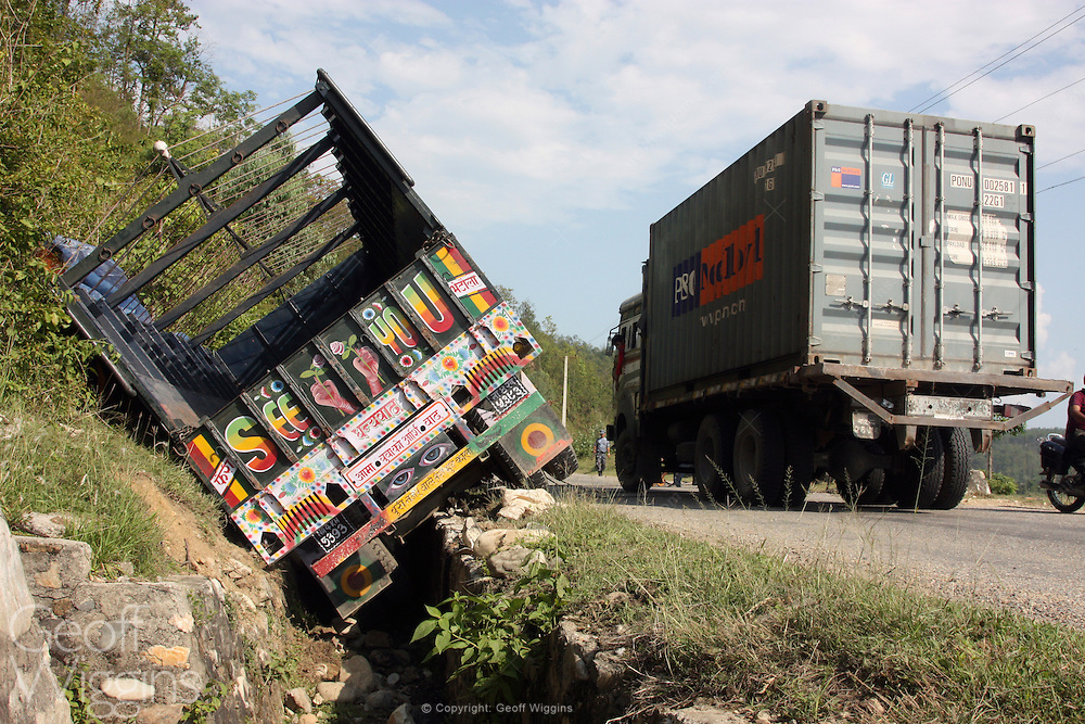 Nepali heavy goods trucks involved in road accidents Highway 1 Nepal