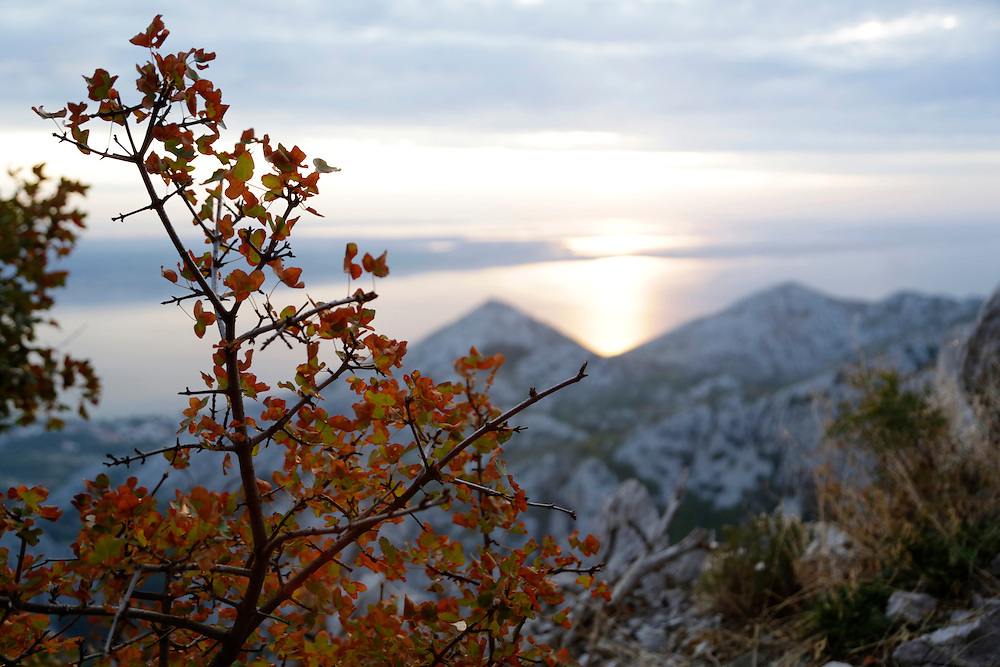 View from the climbing route 'Brid za Veliki Cekic', Paklenica National Park, Croatia.