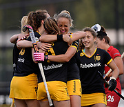 Den Bosch's Maartje Paumen celebrates combining with Pien Sanders after a penalty corner goal during their opening game of the EHCC 2017 at Den Bosch HC, The Netherlands, 2nd June 2017
