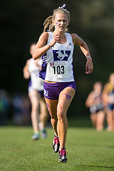 Katherine Lampard of the Western Mustangs  competes in the women's 5k  at the 2015 Western International Cross country meet in London Ontario, Saturday,  September 26, 2015.<br /> Mundo Sport Images/ Geoff Robins