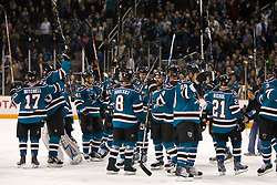 January 6, 2010; San Jose, CA, USA; The San Jose Sharks celebrates after left wing Dany Heatley (15) scores the game winning goal against the St. Louis Blues in the overtime period at HP Pavilion.  San Jose defeated St. Louis 2-1 in overtime. Mandatory Credit: Jason O. Watson / US PRESSWIRE