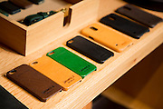 DETROIT, MI - OCTOBER, 30: Leather cell phone cases and other leather goods on display at the Shinola store in Detroit, Michigan, Thursday, October 30, 2014. (Photo by Jeffrey Sauger)