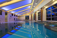 Interior view of swimming pool in Spa & Health centre of Mirotel Resort & Spa hotel. Mirotel is 5* resort located in the heart of Truskavets, in western Ukraine.