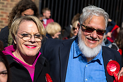 © Licensed to London News Pictures. 03/05/2018. London, UK. Stand up comedian and Labour NEC member EDDIE IZZARD (left) with Labour activist JON LANSMAN (right) pose for a photo outside Pimlico Tube Station as part of 'Unseat Westminster Tory Council'. The gathering was arranged to round up volunteers to speak to Westminster residents who said they would vote for labour. Photo credit : Tom Nicholson/LNP