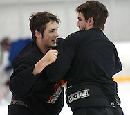 1/4/07 Omaha , IN  -- USHL Omaha Lancer players Keir Ross (left) practices fighting with Cory Toy (right) at the end of practice.<br /> (Chris Machian/Prairie Pixel Group)