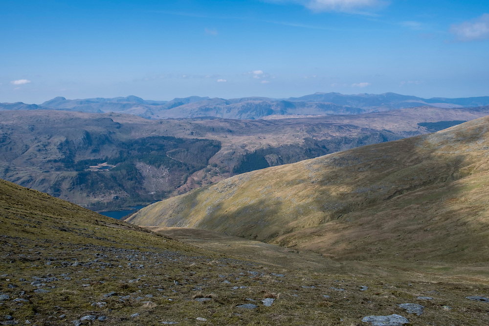 Stunning mountain range of Lake District National Park from western side of Helvellyn mountain, Lake District, Cumbria, UK. Thirlmere reservoir is at the bottom of the valley and flanked Wythburn and Armboth Fells.  (photo by Andrew Aitchison / In pictures via Getty Images)