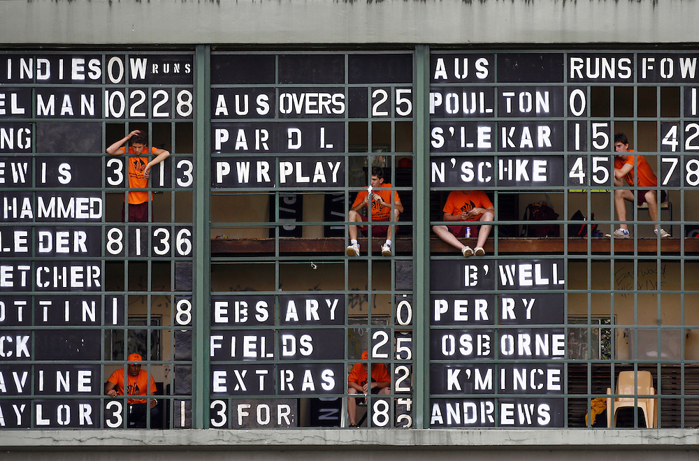 The scoreboard operators during the Australia v West Indies womens cricket world cup match at Drummoyne Oval, Sydney, Australia.
