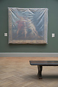 a painting by Rubens covered with semi clear plastic in a museum show room Metropolitan Museum of Art New York