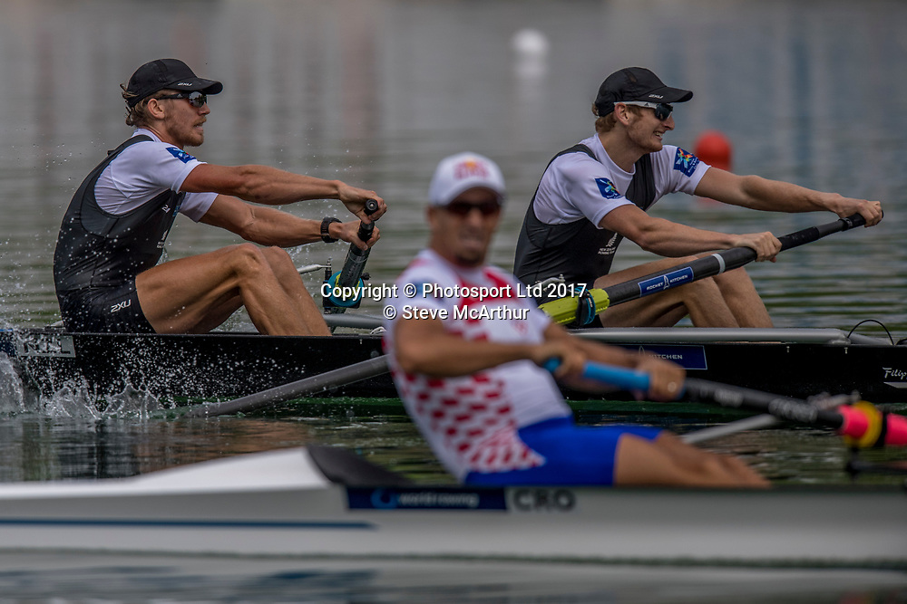 Tom Murray (Blenheim RC) and James Hunter (Wellington RC) NZ Mens Coxless Pair winning the gold medal at WCIII on the Rotsee, Lucerne, Switzerland, Sunday 9th July 2017 © Copyright Steve McArthur / www.photosport.nz