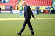 Fleetwood Town manager Uwe Rosler at half time heading towards match Referee Tim Robinson during the EFL Sky Bet League 1 match between Charlton Athletic and Fleetwood Town at The Valley, London, England on 4 February 2017. Photo by Andy Walter.