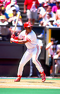 CINCINNATI-CIRCA 1992:  Barry Larkin of the Cincinnati Reds bats during an MLB game at Riverfront Stadium in Cincinnati, Ohio.  Larkin played for the Reds from 1986-2004.   (Photo by Ron Vesely)   Subject: Barry Larkin.