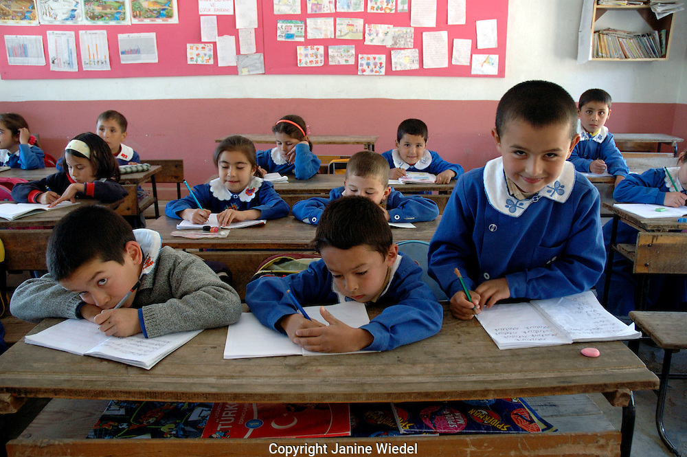 Classroom of students in small rural primary school in village of Islamlar in Southern Turkey