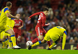 LIVERPOOL, ENGLAND - Thursday, September 16, 2010: Liverpool's Daniel Pacheco in action against FC Steaua Bucuresti during the opening UEFA Europa League Group K match at Anfield. (Photo by David Rawcliffe/Propaganda)