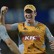 Australian Peter Siddle (facing) celebrates wicket with Callum Ferguson during the Twenty20 International between Australia and New Zealand  at the Sydney Cricket Ground on the 15th February 2009. Australia won the thrilling match by one run. Photo Tim Clayton