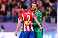 Atletico de Madrid's player Diego Godín and Jan Oblak celebrating the victory during a match of UEFA Champions League at Vicente Calderon Stadium in Madrid. November 01, Spain. 2016. (ALTERPHOTOS/BorjaB.Hojas)
