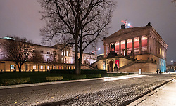 Night view of Neue Nationalgallerie and Neues Museum on Museuminsel ( Museum Island), in Mitte Berlin , Germany
