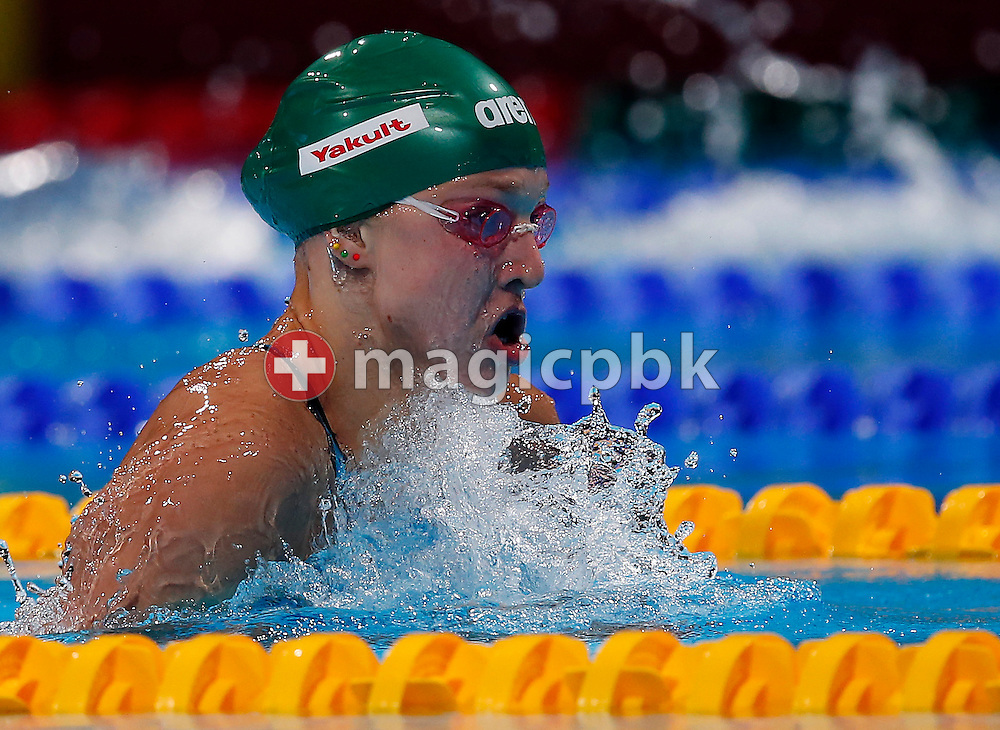 Ruta Meilutyte of Lithuania on her way to clock in a New World Record time in the women's 100m Breaststroke Semifinal  during the 15th FINA World Aquatics Championships at the Palau Sant Jordi in Barcelona, Spain, Monday, July 29, 2013. (Photo by Patrick B. Kraemer / MAGICPBK)