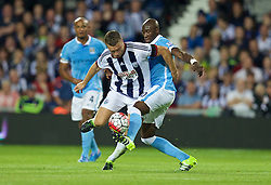 WEST BROMWICH, ENGLAND - Monday, August 10, 2015: West Bromwich Albion's Rickie Lambert in action against Manchester City's Eliaquim Mangala on his debut during the Premier League match at the Hawthorns. (Pic by David Rawcliffe/Propaganda)