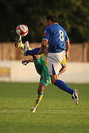 Corey Smith of Norwich and Craig Edwards of Billericay in action during a pre season friendly at New Lodge Stadium, Billericay...Picture by Paul Chesterton/Focus Images Ltd.  07904 640267.4/8/11
