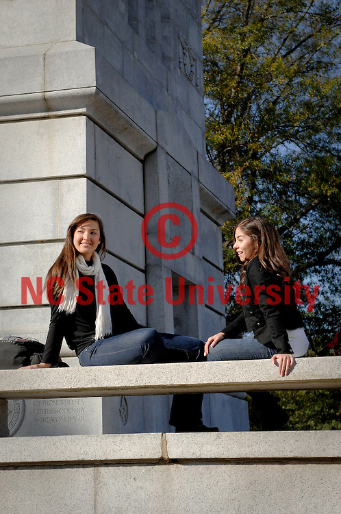 NCSU students go over notes at the belltower. Photo by Becky Kirkland