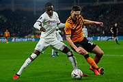 Robbie McKenzie of Hull City battles with Fikayo Tomori of Chelsea during the The FA Cup match between Hull City and Chelsea at the KCOM Stadium, Kingston upon Hull, England on 25 January 2020.