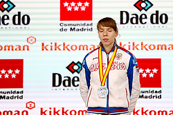 November 10, 2018 - Madrid, Madrid, Spain - Isaeva Victoria (RUS) win the silver medal and the second place of the tournament of Female Kumite -68 Kg during the Finals of Karate World Championship celebrates in Wizink Center, Madrid, Spain, on November 10th, 2018. (Credit Image: © AFP7 via ZUMA Wire)