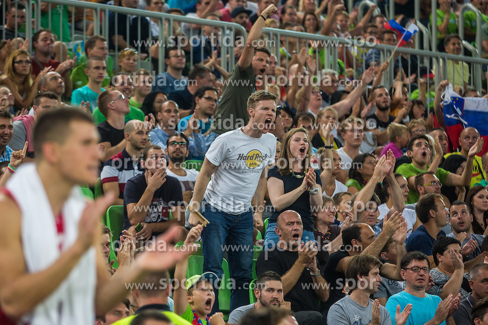 Slovenian supporters during friendly basketball match between National teams of Slovenia and Serbia in arena Stozice, on August 23 in Ljubljana, Slovenia. Photo by Grega Valancic / Sportida August 27, 2015
