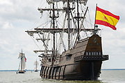 The Spanish Galleon Andalucia follows a procession of tall sailing ships during the parade of sails kicking off the Tall Ships Charleston festival May 18, 2017 in Charleston, South Carolina. The festival of tall sailing ships from around the world will spend three-days visiting historic Charleston.