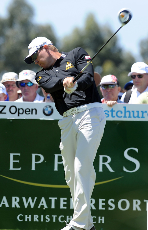 Queensland's Brad Kennedy tees off on the 2nd tee on the final round of the BMW New Zealand Golf Open, Clearwater, Christchurch, New Zealand, Sunday, December 04, 2011. Credit:SNPA / Ross Setford