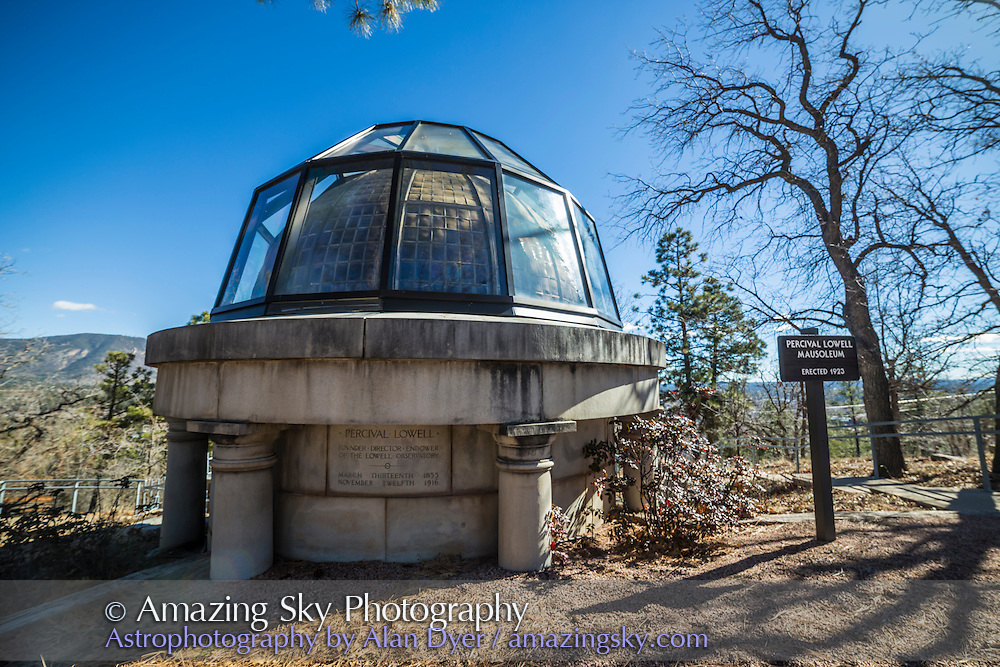 The Mausoleum on the grounds of the Lowell Observatory, on Mars Hill overlooking Flagstaff, Arizona, where the observatory's founder, Percival Lowell, is entombed. Lowell popularized the idea of life on Mars and financed the search for Planet X, leading to the discovery of Pluto in 1930.